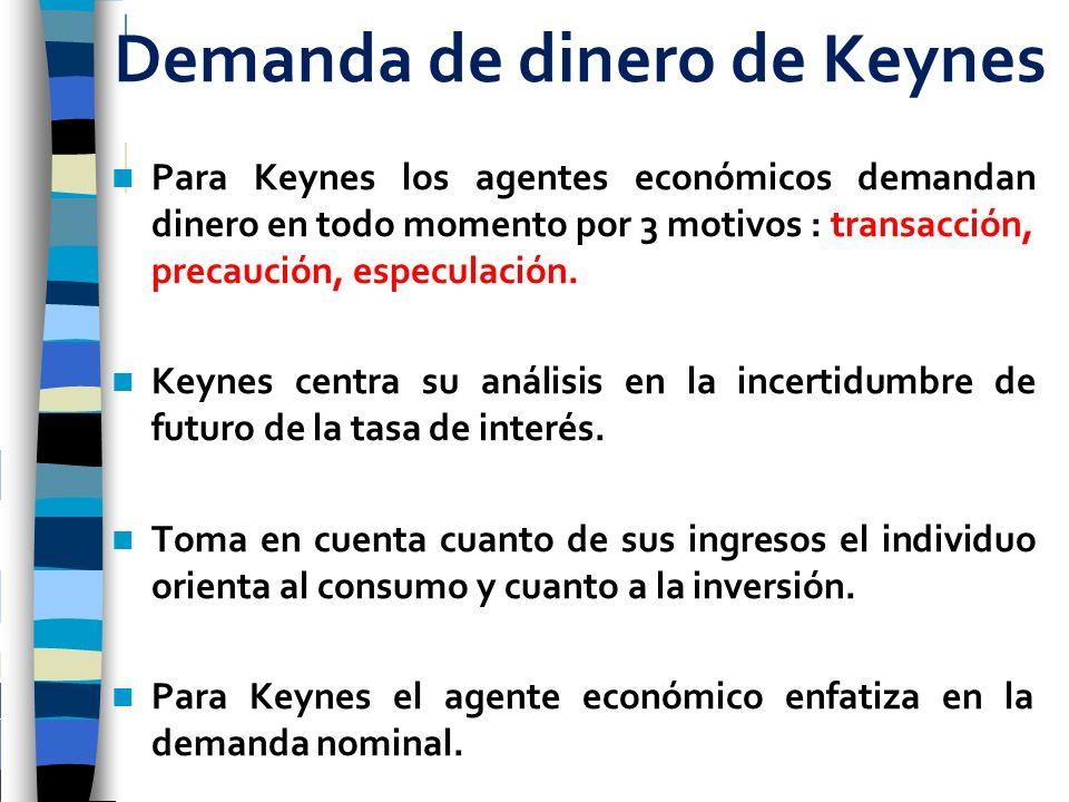 Demanda de dinero de Keynes Para Keynes los agentes económicos demandan dinero en todo momento por 3 motivos : transacción, precaución, especulación.