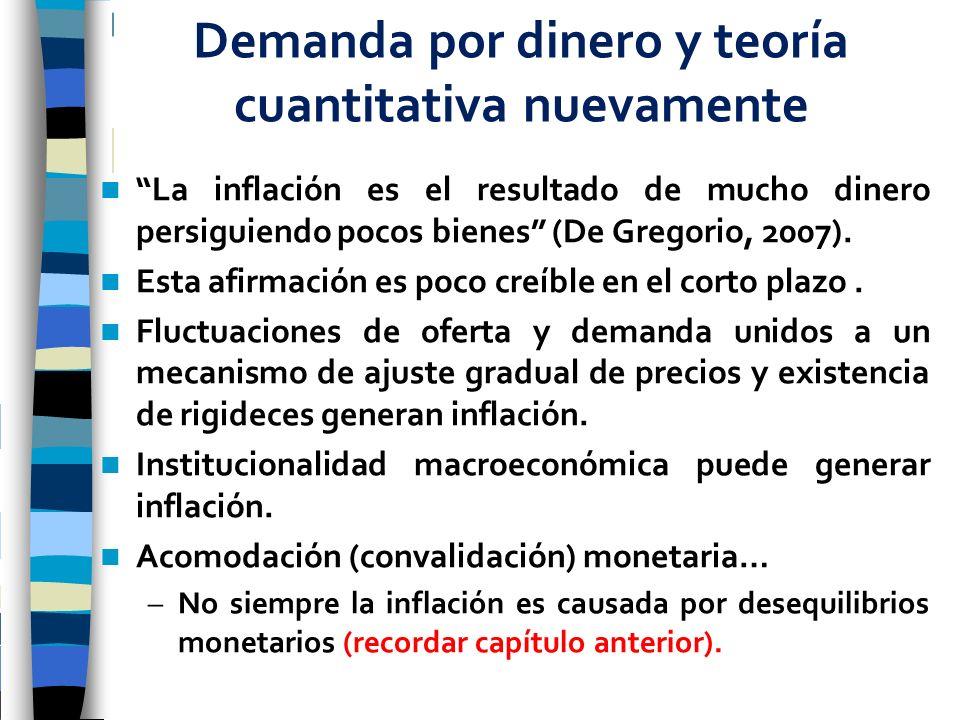 La inflación es el resultado de mucho dinero persiguiendo pocos bienes (De Gregorio, 2007). Esta afirmación es poco creíble en el corto plazo. Fluctua