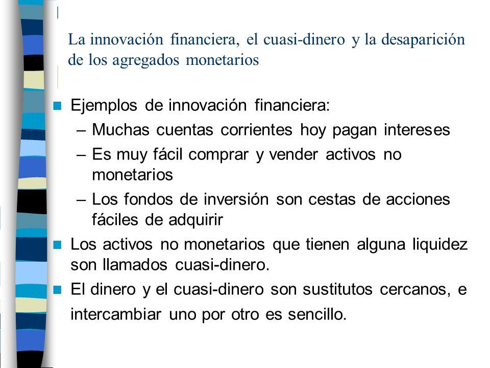 La innovación financiera, el cuasi-dinero y la desaparición de los agregados monetarios Ejemplos de innovación financiera: –Muchas cuentas corrientes