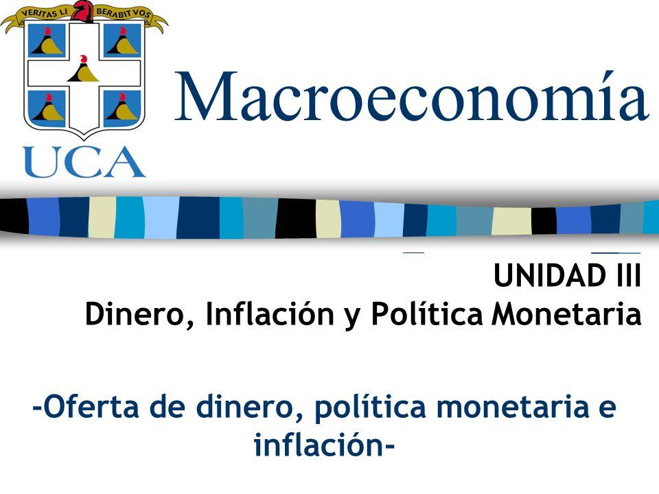 Macroeconomía UNIDAD III Dinero, Inflación y Política Monetaria -Oferta de dinero, política monetaria e inflación-