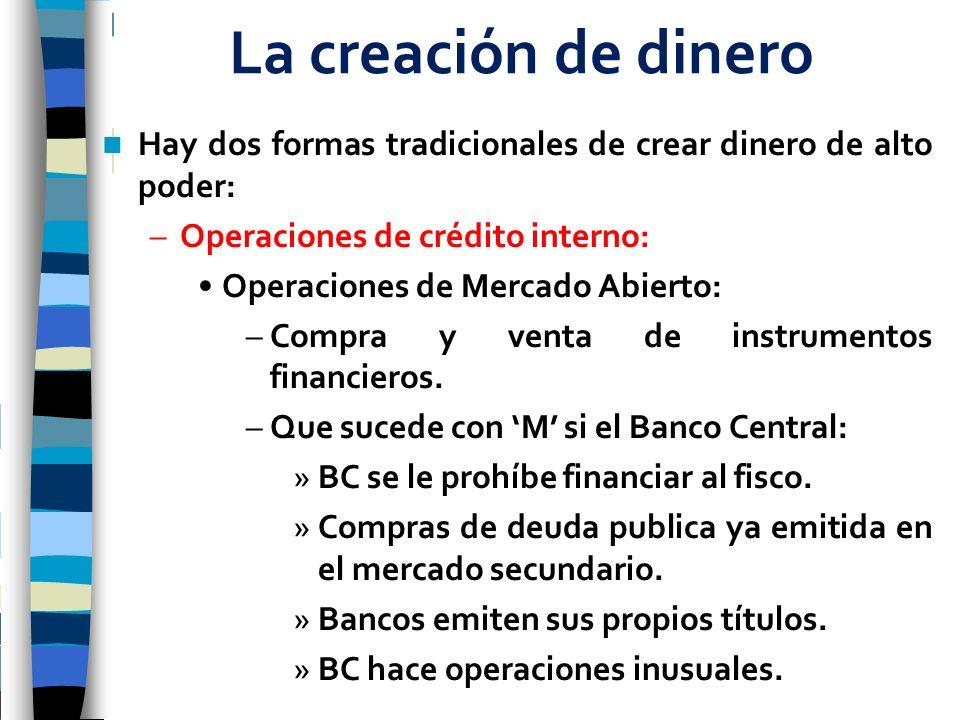 La creación de dinero Hay dos formas tradicionales de crear dinero de alto poder: –Operaciones de crédito interno: Operaciones de Mercado Abierto: –Co