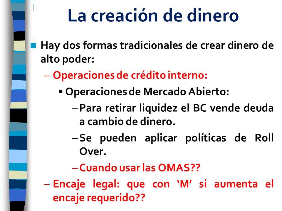La creación de dinero Hay dos formas tradicionales de crear dinero de alto poder: –Operaciones de crédito interno: Operaciones de Mercado Abierto: –Pa