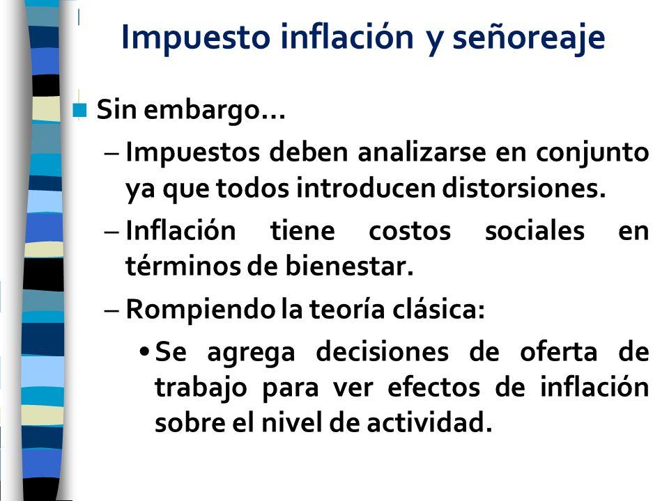 Impuesto inflación y señoreaje Sin embargo… –Impuestos deben analizarse en conjunto ya que todos introducen distorsiones. –Inflación tiene costos soci