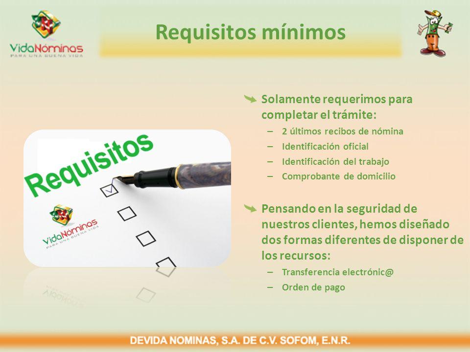 Requisitos mínimos Solamente requerimos para completar el trámite: – 2 últimos recibos de nómina – Identificación oficial – Identificación del trabajo