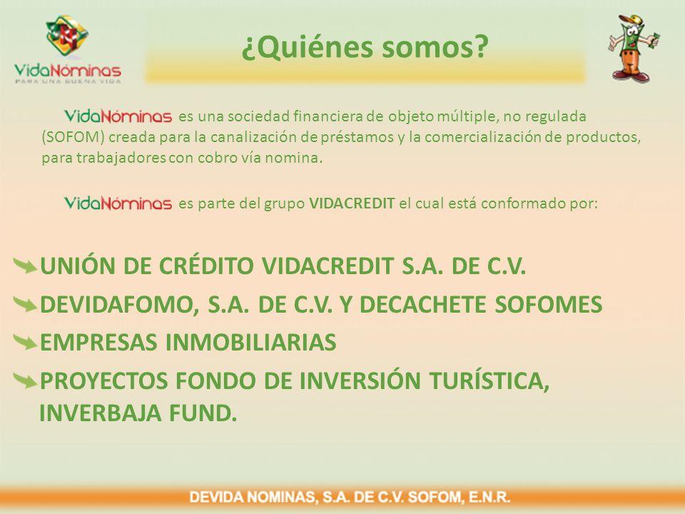 ¿Quiénes somos? UNIÓN DE CRÉDITO VIDACREDIT S.A. DE C.V. DEVIDAFOMO, S.A. DE C.V. Y DECACHETE SOFOMES EMPRESAS INMOBILIARIAS PROYECTOS FONDO DE INVERS