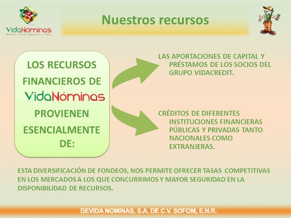 LAS APORTACIONES DE CAPITAL Y PRÉSTAMOS DE LOS SOCIOS DEL GRUPO VIDACREDIT. CRÉDITOS DE DIFERENTES INSTITUCIONES FINANCIERAS PÚBLICAS Y PRIVADAS TANTO