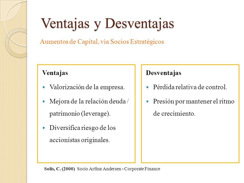 Ventajas y Desventajas Ventajas Valorización de la empresa. Mejora de la relación deuda / patrimonio (leverage). Diversifica riesgo de los accionistas