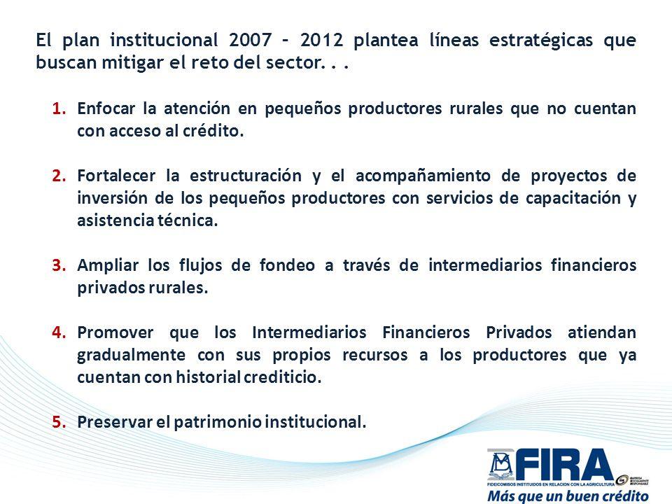 El plan institucional 2007 – 2012 plantea líneas estratégicas que buscan mitigar el reto del sector... 1.Enfocar la atención en pequeños productores r
