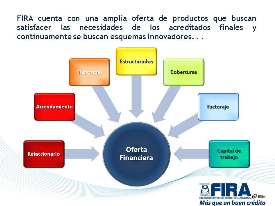 FIRA cuenta con una amplia oferta de productos que buscan satisfacer las necesidades de los acreditados finales y continuamente se buscan esquemas inn