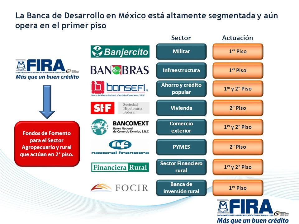 Militar Infraestructura Ahorro y crédito popular Vivienda Comercio exterior PYMES Sector Financiero rural Banca de inversión rural 1 er Piso 1 er y 2°