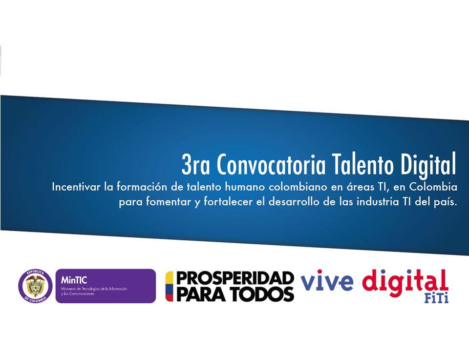 Cupos Estimados* Técnico 1.800 Tecnológico 500 Técnicos y Tecnólogos en Carreras en TI 3ra Convocatoria de Talento Digital ((()))