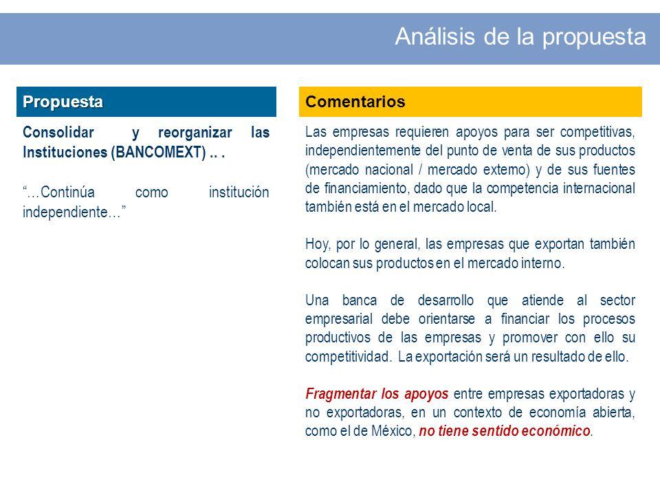 Propuesta Consolidar y reorganizar las Instituciones (BANCOMEXT)...