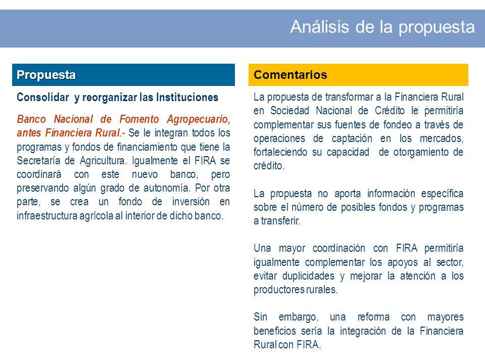 Propuesta Consolidar y reorganizar las Instituciones Banco Nacional de Fomento Agropecuario, antes Financiera Rural.- Se le integran todos los programas y fondos de financiamiento que tiene la Secretaría de Agricultura.