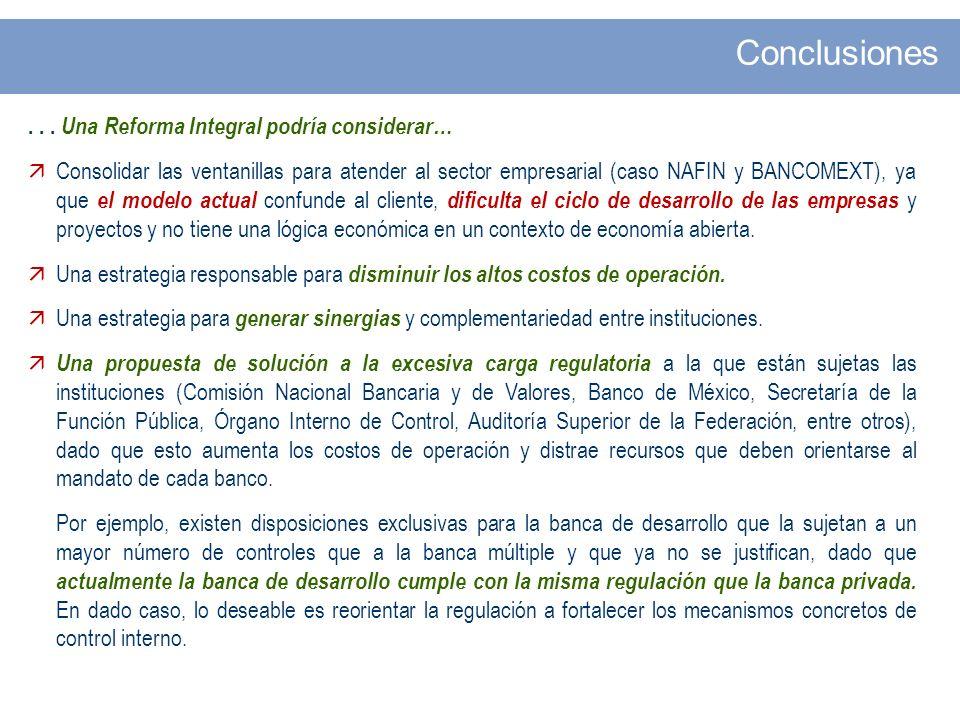 ... Una Reforma Integral podría considerar… Consolidar las ventanillas para atender al sector empresarial (caso NAFIN y BANCOMEXT), ya que el modelo a