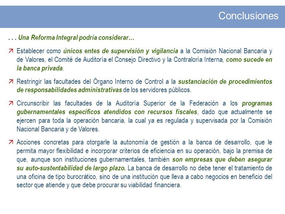 ... Una Reforma Integral podría considerar… Establecer como únicos entes de supervisión y vigilancia a la Comisión Nacional Bancaria y de Valores, el