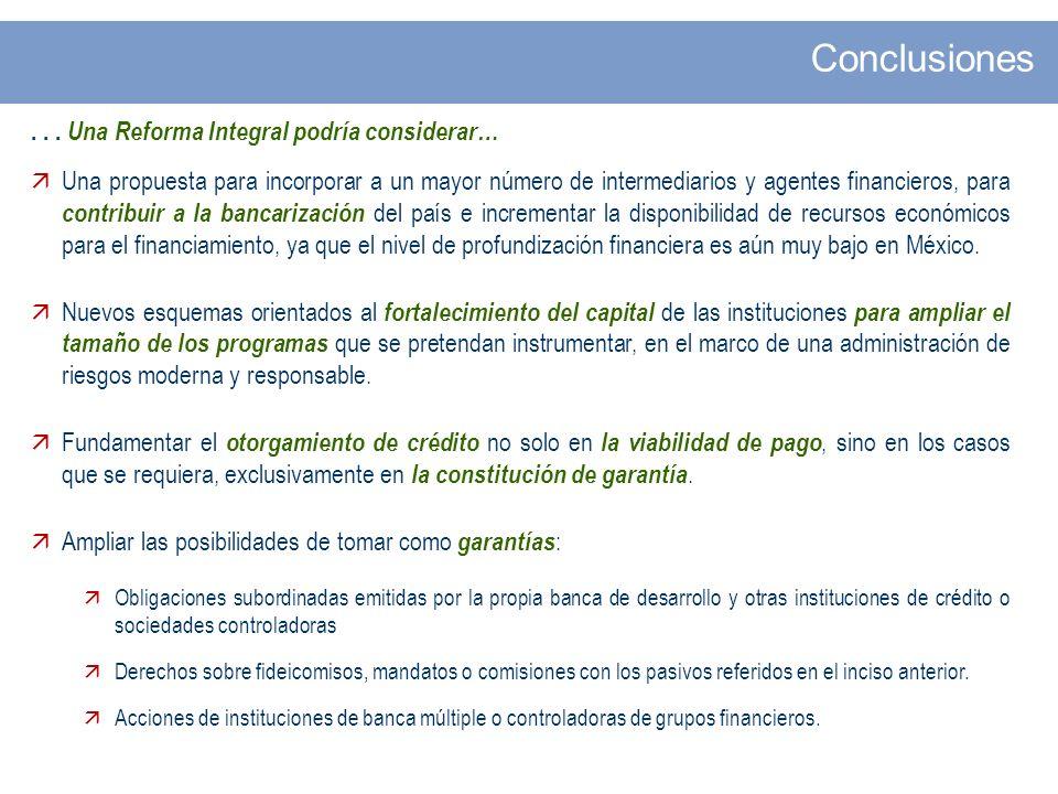 ... Una Reforma Integral podría considerar… Una propuesta para incorporar a un mayor número de intermediarios y agentes financieros, para contribuir a