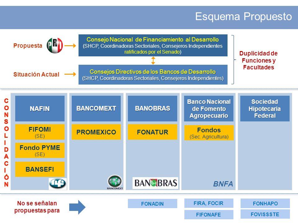 Esquema Propuesto Duplicidad de Funciones y Facultades NAFINBANCOMEXTBANOBRAS Banco Nacional de Fomento Agropecuario Sociedad Hipotecaria Federal Fondos (Sec.