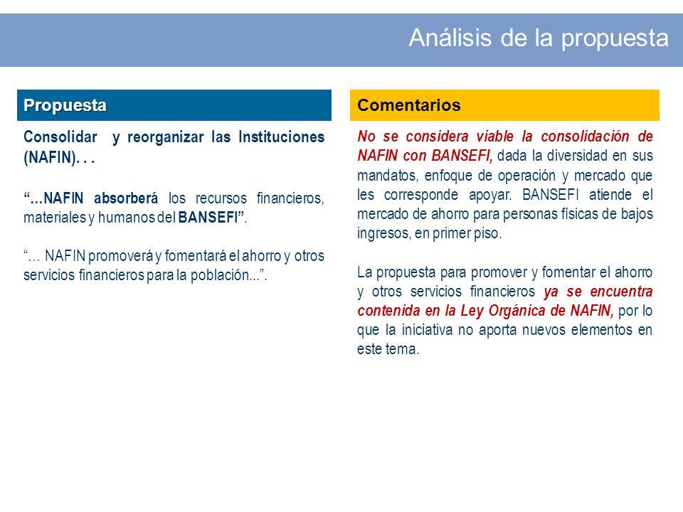 Propuesta Consolidar y reorganizar las Instituciones (NAFIN)...