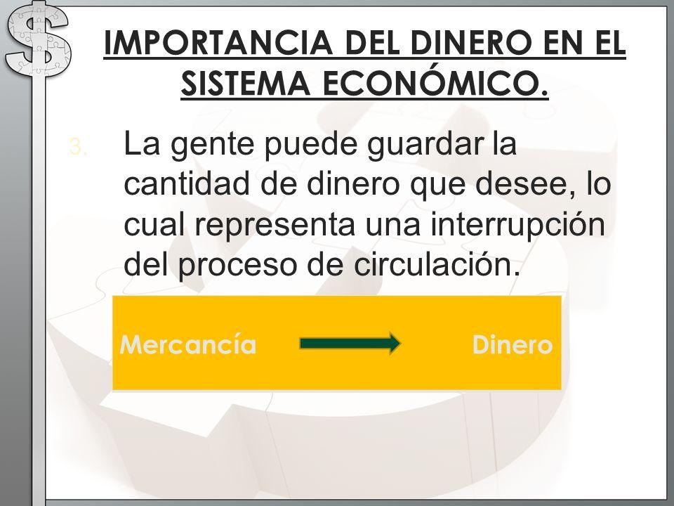 3. La gente puede guardar la cantidad de dinero que desee, lo cual representa una interrupción del proceso de circulación. IMPORTANCIA DEL DINERO EN E