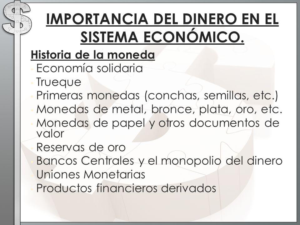 Historia de la moneda Economía solidaria Trueque Primeras monedas (conchas, semillas, etc.) Monedas de metal, bronce, plata, oro, etc. Monedas de pape