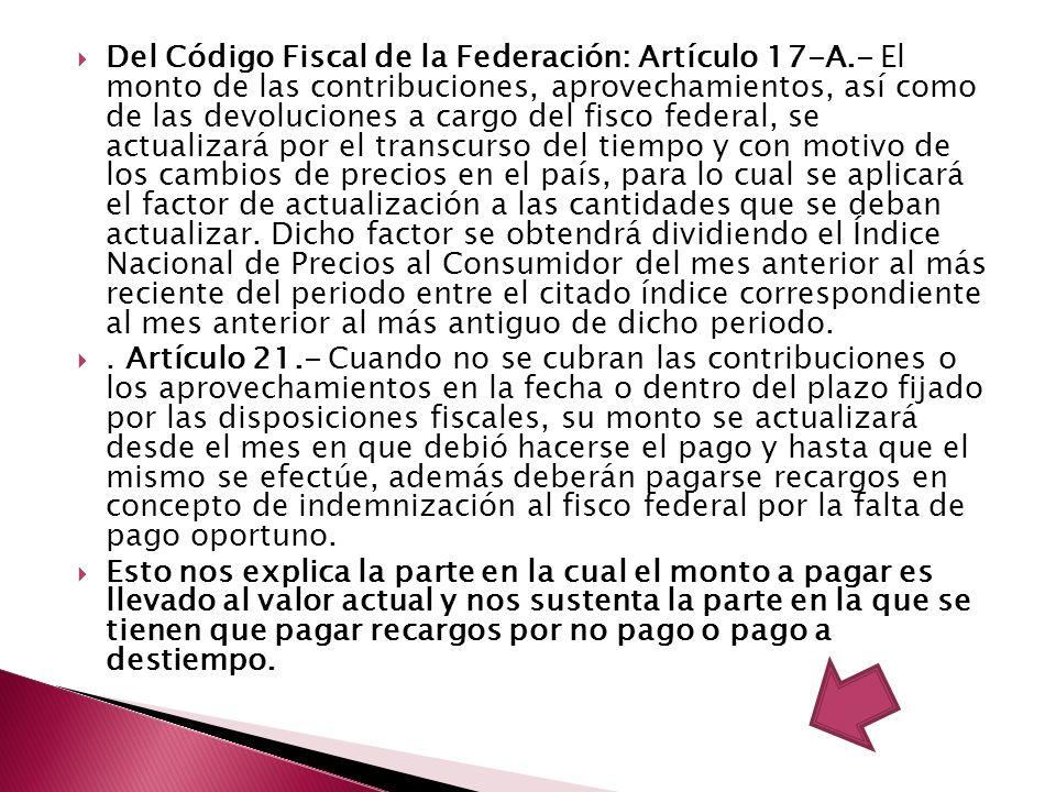 Del Código Fiscal de la Federación: Artículo 17-A.- El monto de las contribuciones, aprovechamientos, así como de las devoluciones a cargo del fisco f