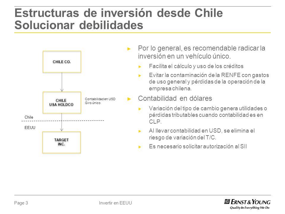 Invertir en EEUUPage 3 Estructuras de inversión desde Chile Solucionar debilidades Por lo general, es recomendable radicar la inversión en un vehículo único.