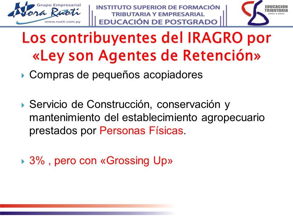 Compras de pequeños acopiadores Servicio de Construcción, conservación y mantenimiento del establecimiento agropecuario prestados por Personas Físicas