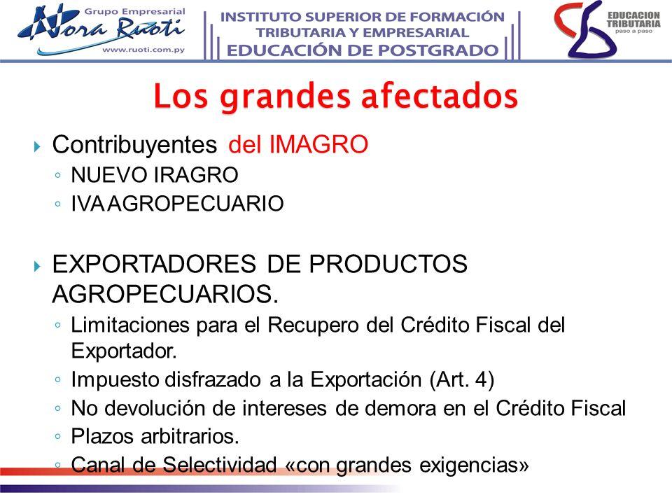 Contribuyentes del IMAGRO NUEVO IRAGRO IVA AGROPECUARIO EXPORTADORES DE PRODUCTOS AGROPECUARIOS. Limitaciones para el Recupero del Crédito Fiscal del
