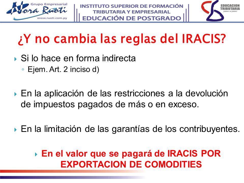 Si lo hace en forma indirecta Ejem. Art. 2 inciso d) En la aplicación de las restricciones a la devolución de impuestos pagados de más o en exceso. En
