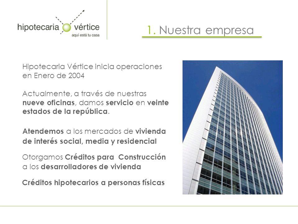 Hipotecaria Vértice inicia operaciones en Enero de 2004 Actualmente, a través de nuestras nueve oficinas, damos servicio en veinte estados de la repúb