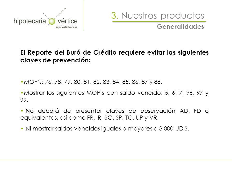 3. Nuestros productos Generalidades El Reporte del Buró de Crédito requiere evitar las siguientes claves de prevención: MOP´s: 76, 78, 79, 80, 81, 82,