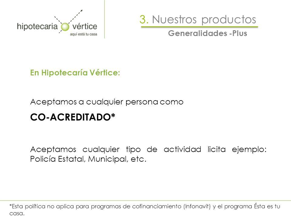 Generalidades -Plus 3. Nuestros productos En Hipotecaría Vértice: Aceptamos a cualquier persona como CO-ACREDITADO* Aceptamos cualquier tipo de activi