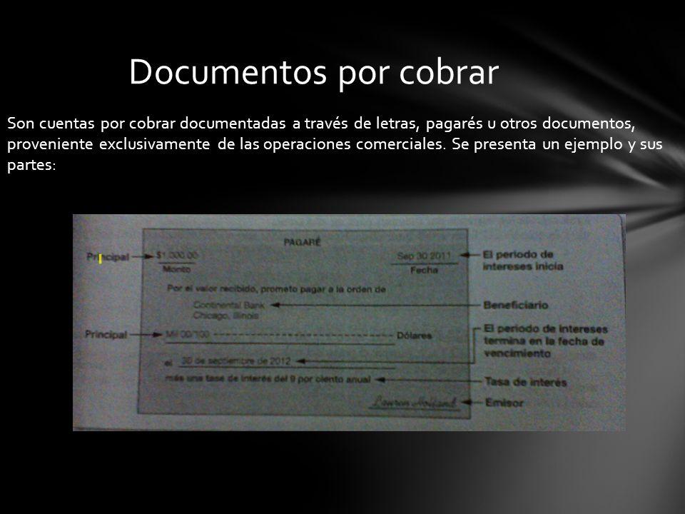 Son cuentas por cobrar documentadas a través de letras, pagarés u otros documentos, proveniente exclusivamente de las operaciones comerciales. Se pres
