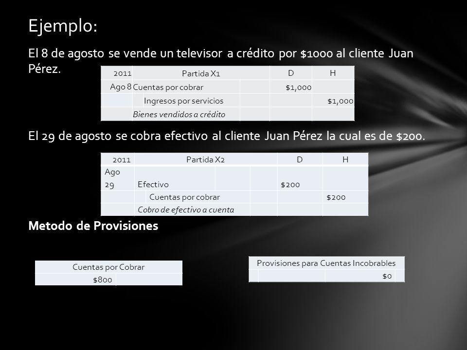 El 8 de agosto se vende un televisor a crédito por $1000 al cliente Juan Pérez. El 29 de agosto se cobra efectivo al cliente Juan Pérez la cual es de