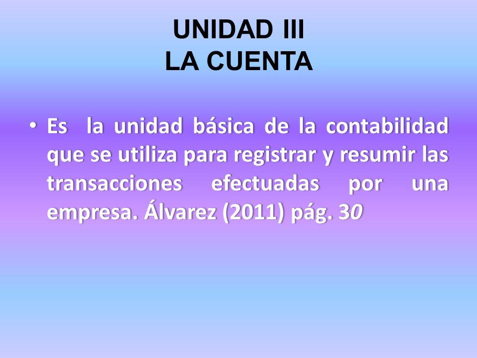 UNIDAD III LA CUENTA Es la unidad básica de la contabilidad que se utiliza para registrar y resumir las transacciones efectuadas por una empresa. Álva