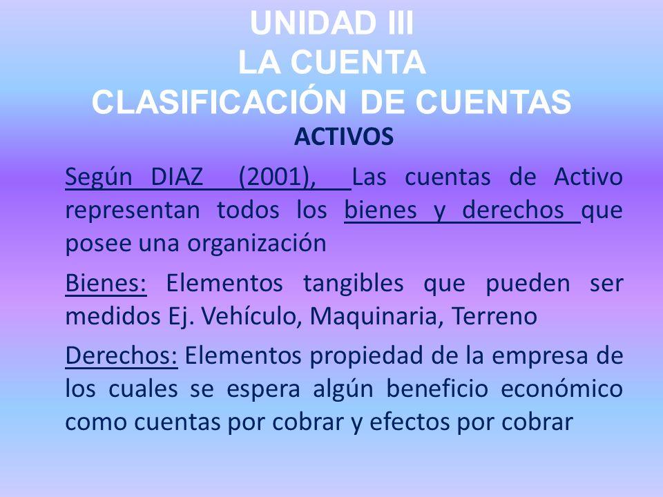 UNIDAD III LA CUENTA CLASIFICACIÓN DE CUENTAS ACTIVOS Según DIAZ (2001), Las cuentas de Activo representan todos los bienes y derechos que posee una o