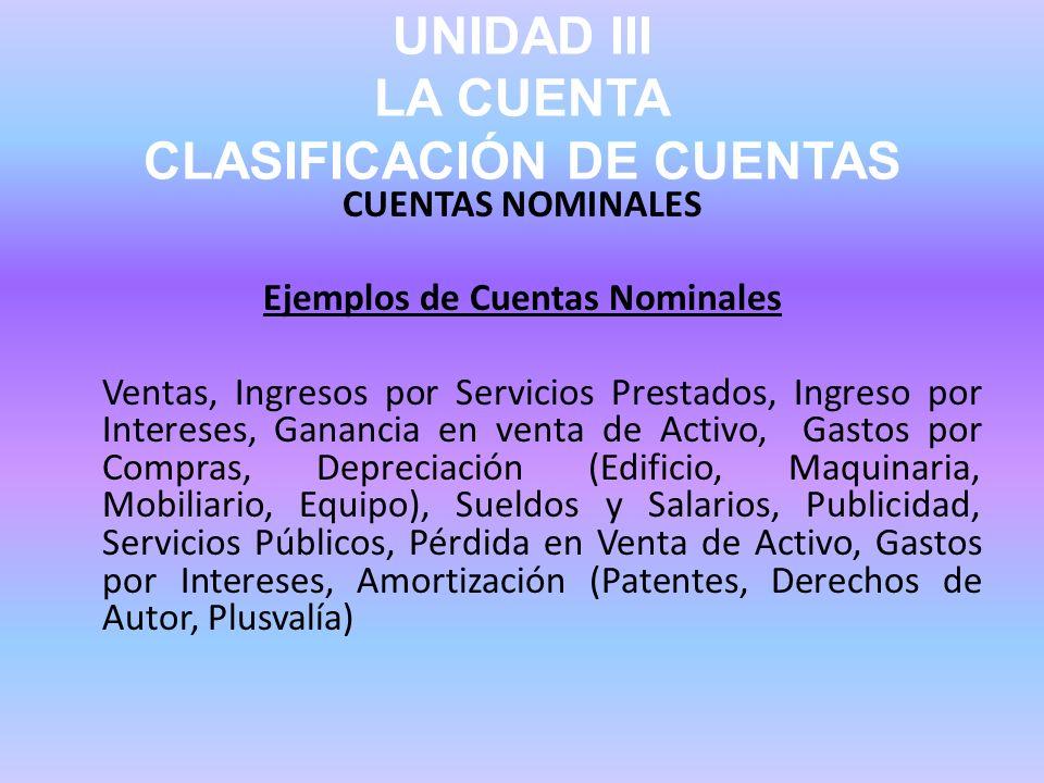 UNIDAD III LA CUENTA CLASIFICACIÓN DE CUENTAS CUENTAS NOMINALES Ejemplos de Cuentas Nominales Ventas, Ingresos por Servicios Prestados, Ingreso por In