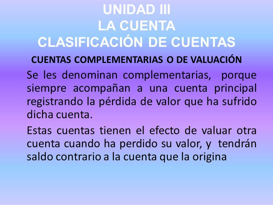 UNIDAD III LA CUENTA CLASIFICACIÓN DE CUENTAS CUENTAS COMPLEMENTARIAS O DE VALUACIÓN Se les denominan complementarias, porque siempre acompañan a una