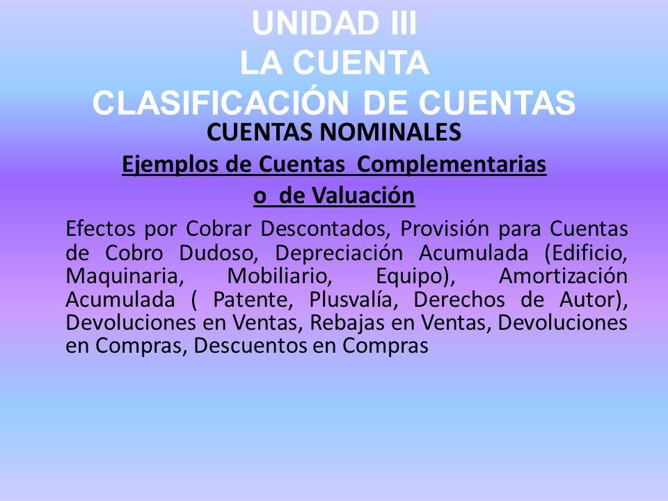 UNIDAD III LA CUENTA CLASIFICACIÓN DE CUENTAS CUENTAS NOMINALES Ejemplos de Cuentas Complementarias o de Valuación Efectos por Cobrar Descontados, Pro