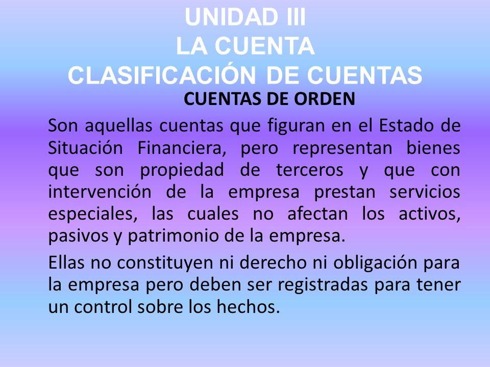 UNIDAD III LA CUENTA CLASIFICACIÓN DE CUENTAS CUENTAS DE ORDEN Son aquellas cuentas que figuran en el Estado de Situación Financiera, pero representan