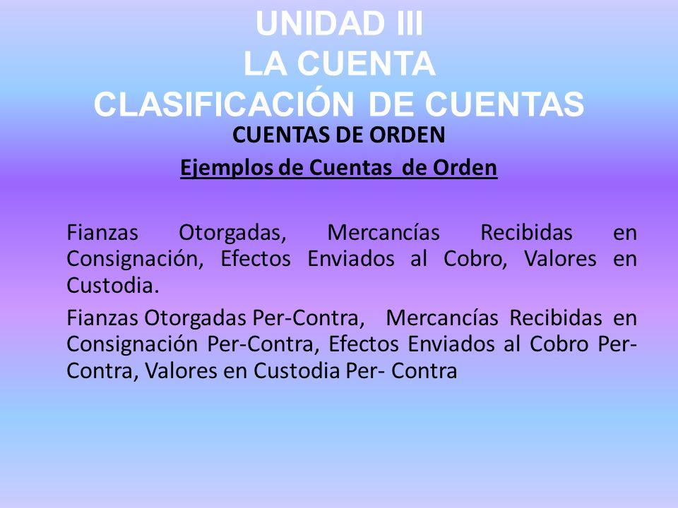 UNIDAD III LA CUENTA CLASIFICACIÓN DE CUENTAS CUENTAS DE ORDEN Ejemplos de Cuentas de Orden Fianzas Otorgadas, Mercancías Recibidas en Consignación, E