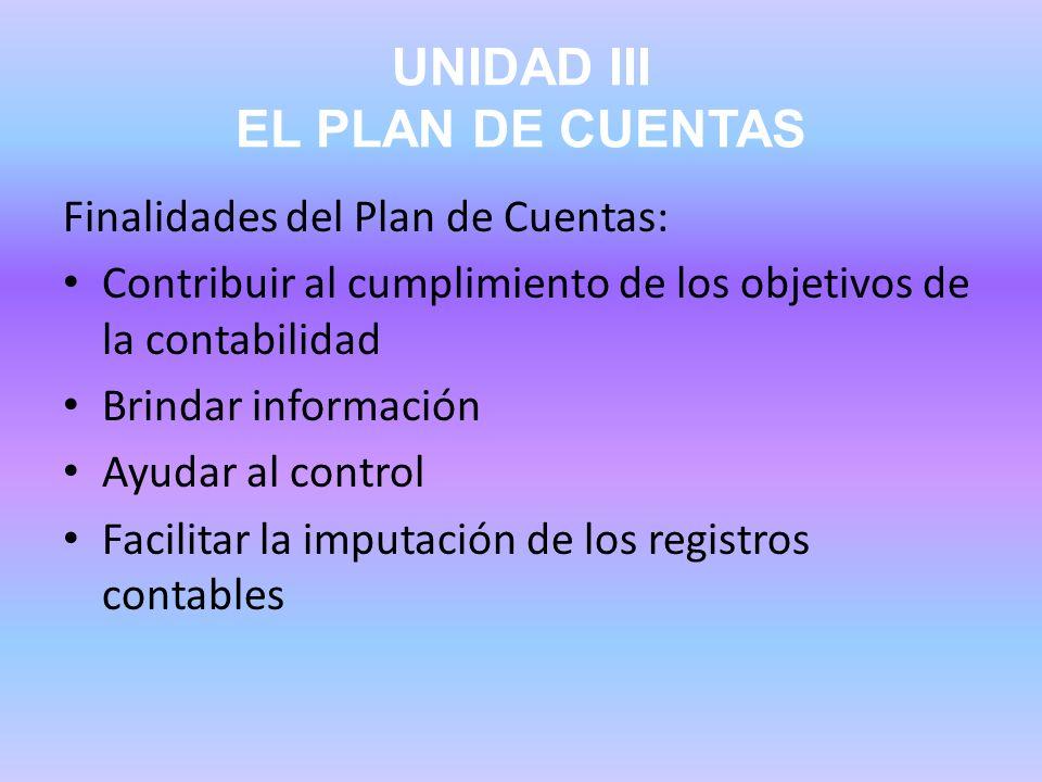 UNIDAD III EL PLAN DE CUENTAS Finalidades del Plan de Cuentas: Contribuir al cumplimiento de los objetivos de la contabilidad Brindar información Ayud