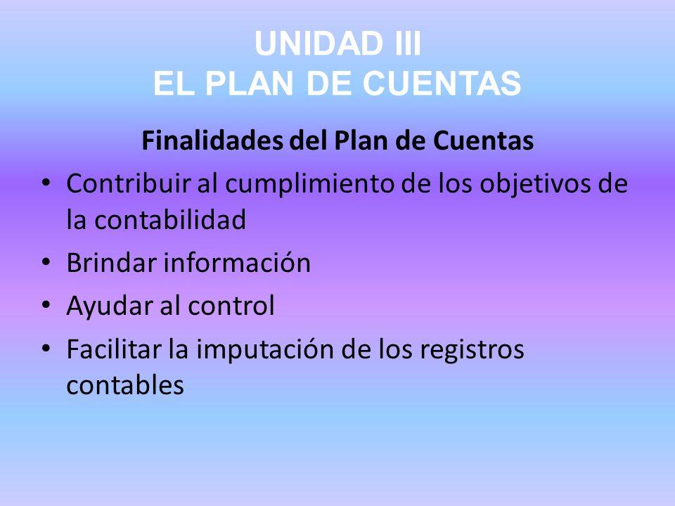UNIDAD III EL PLAN DE CUENTAS Finalidades del Plan de Cuentas Contribuir al cumplimiento de los objetivos de la contabilidad Brindar información Ayuda