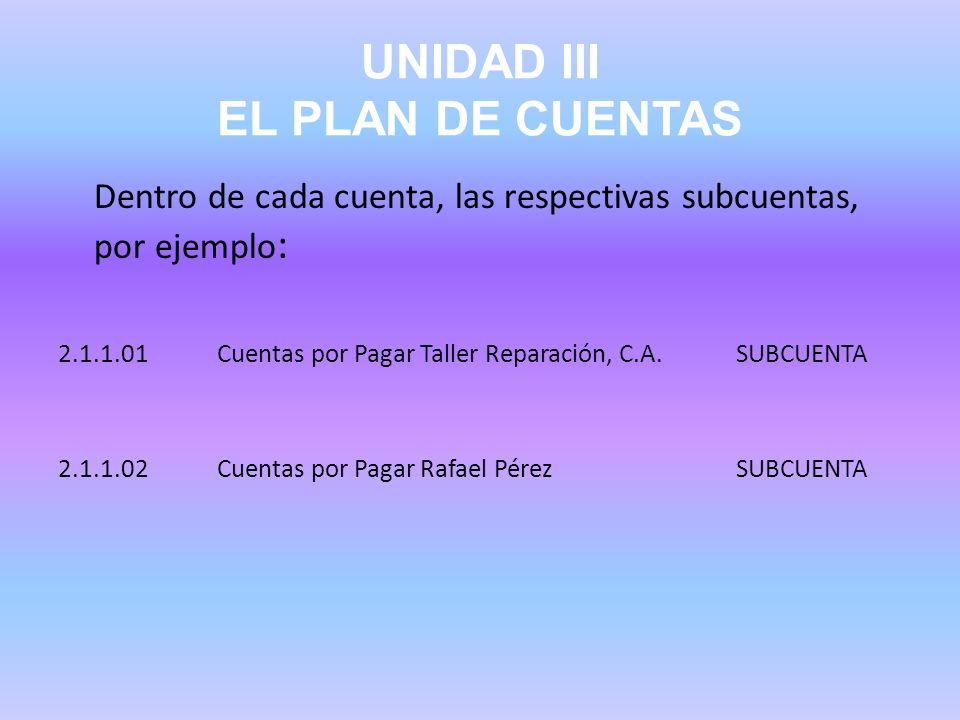 UNIDAD III EL PLAN DE CUENTAS Dentro de cada cuenta, las respectivas subcuentas, por ejemplo : 2.1.1.01 Cuentas por Pagar Taller Reparación, C.A. SUBC