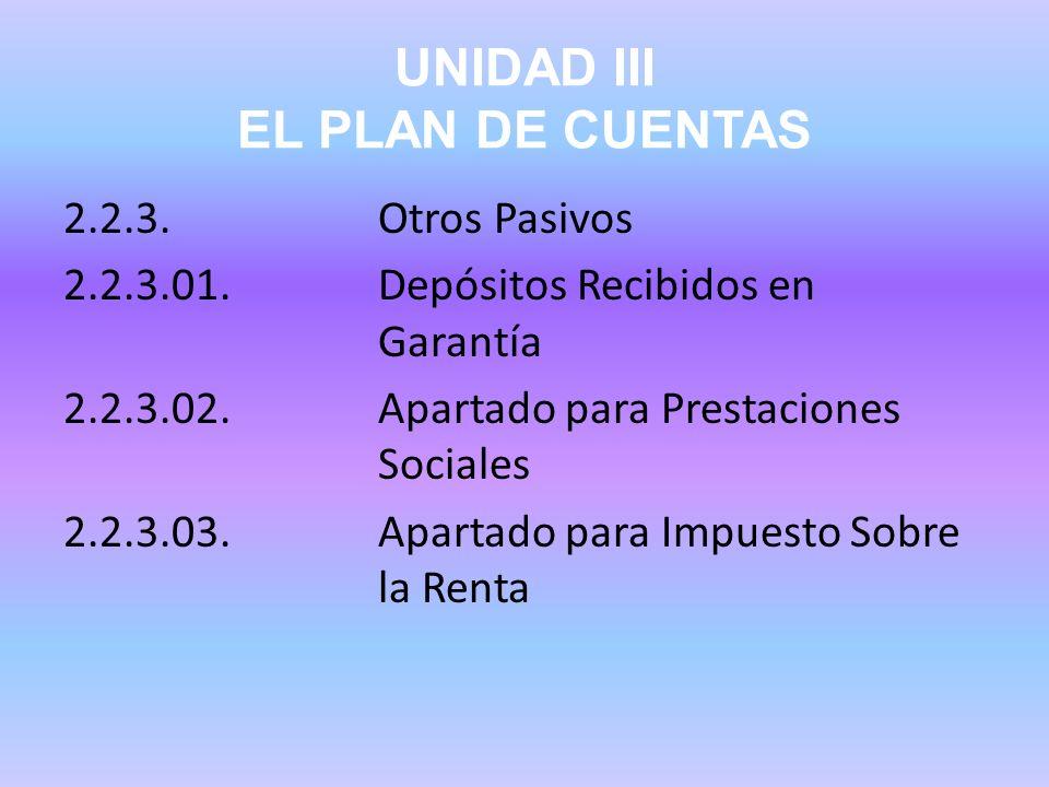 UNIDAD III EL PLAN DE CUENTAS 2.2.3.Otros Pasivos 2.2.3.01.Depósitos Recibidos en Garantía 2.2.3.02.Apartado para Prestaciones Sociales 2.2.3.03.Apart