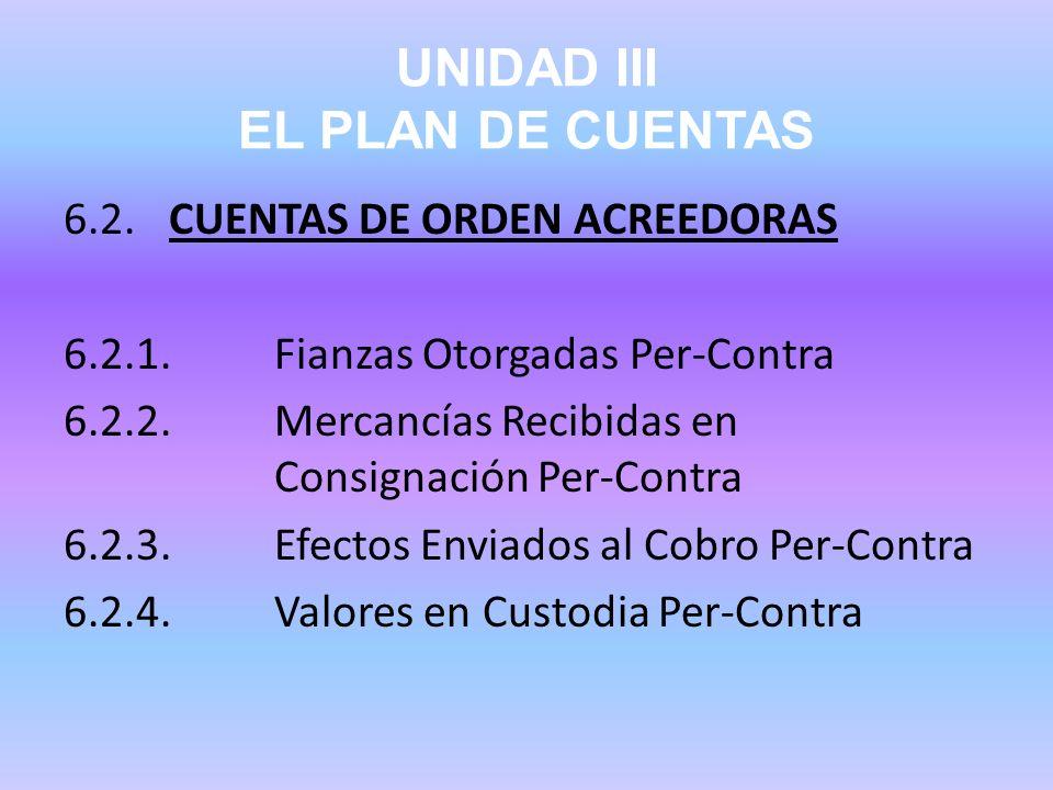 UNIDAD III EL PLAN DE CUENTAS 6.2.CUENTAS DE ORDEN ACREEDORAS 6.2.1.Fianzas Otorgadas Per-Contra 6.2.2.Mercancías Recibidas en Consignación Per-Contra