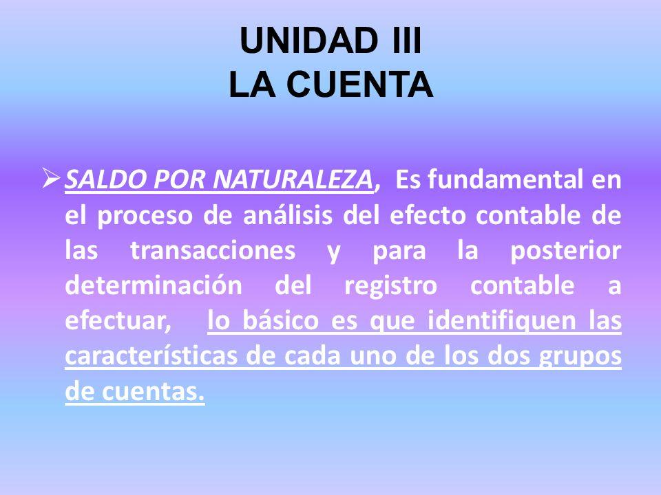 UNIDAD III LA CUENTA SALDO POR NATURALEZA, Es fundamental en el proceso de análisis del efecto contable de las transacciones y para la posterior deter