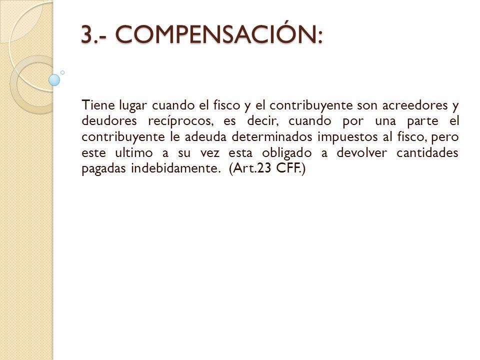 3.- COMPENSACIÓN: Tiene lugar cuando el fisco y el contribuyente son acreedores y deudores recíprocos, es decir, cuando por una parte el contribuyente