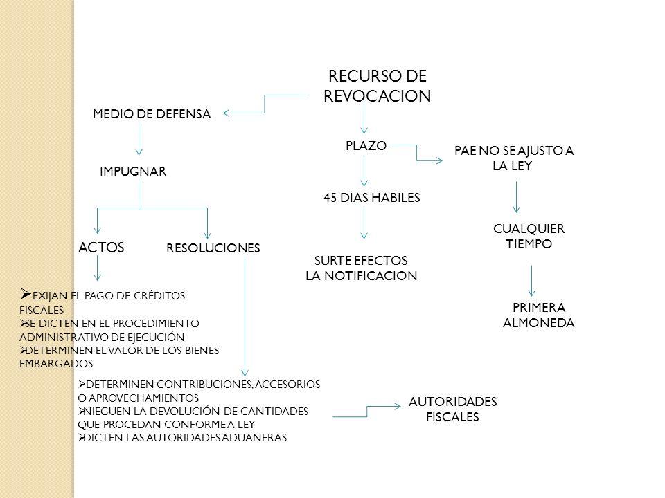 RECURSO DE REVOCACION MEDIO DE DEFENSA IMPUGNAR ACTOS RESOLUCIONES AUTORIDADES FISCALES PLAZO 45 DIAS HABILES SURTE EFECTOS LA NOTIFICACION PAE NO SE