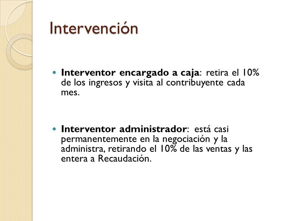 Intervención Interventor encargado a caja: retira el 10% de los ingresos y visita al contribuyente cada mes. Interventor administrador: está casi perm